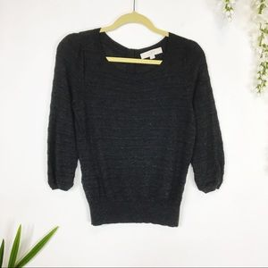 LOFT sweater 3/4 sleeves textured charcoal gray